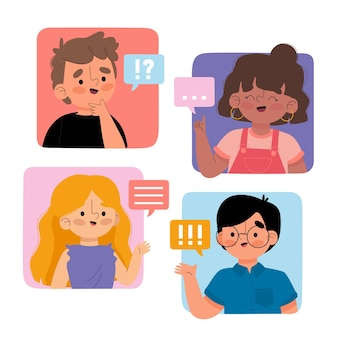 Ręcznie rysowane płaskie osoby rozmawiające