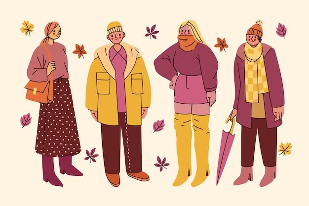Ręcznie rysowane płaskie osoby w jesiennym zestawie