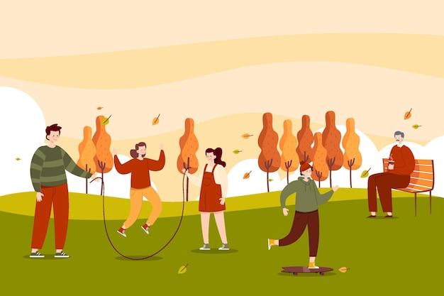 Ręcznie rysowane płaskie osoby w parku