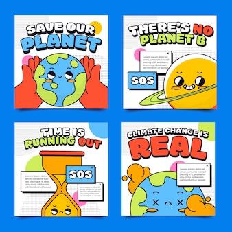 Ręcznie rysowane płaskie posty na instagramie dotyczące zmian klimatu