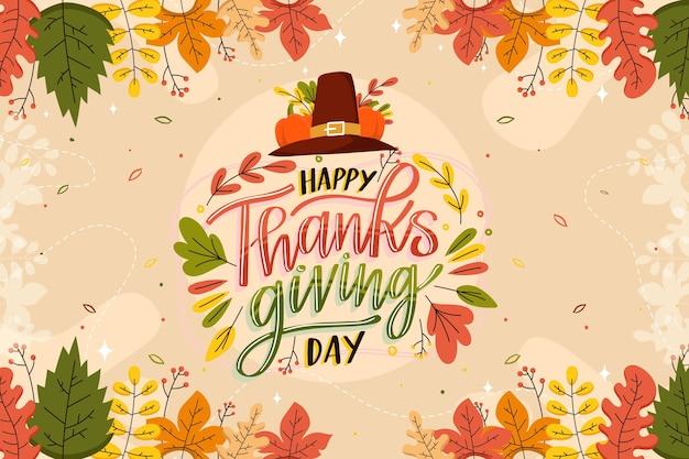 Ręcznie rysowane płaskie tło dziękczynienia