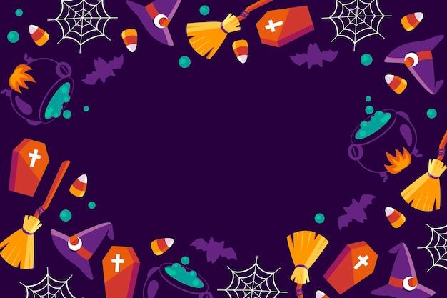 Ręcznie rysowane płaskie tło halloween