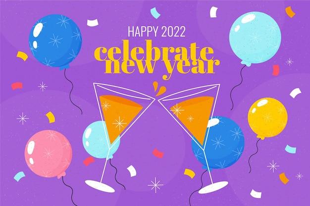 Ręcznie rysowane płaskie tło nowego roku z balonami i kieliszkami do szampana