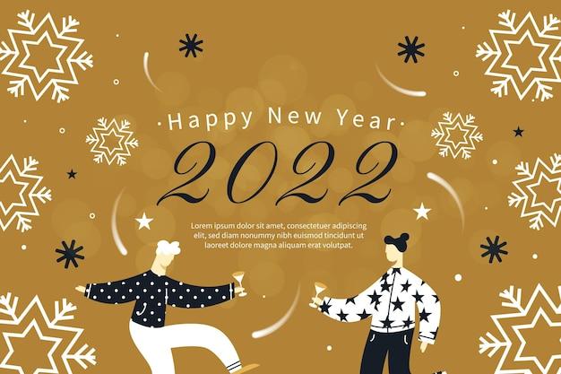 Ręcznie rysowane płaskie tło nowego roku