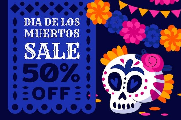 Ręcznie rysowane płaskie tło sprzedaży dia de muertos