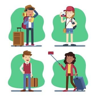Ręcznie rysowane płaskie turyści