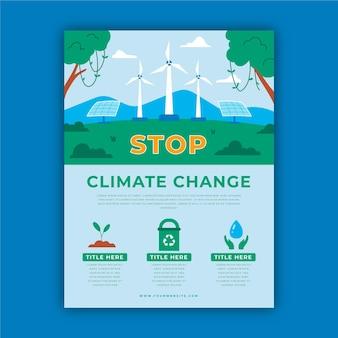 Ręcznie rysowane płaskie ulotki o zmianach klimatu