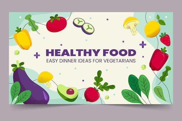 Ręcznie rysowane płaskie wegetariańskie jedzenie miniatura youtube