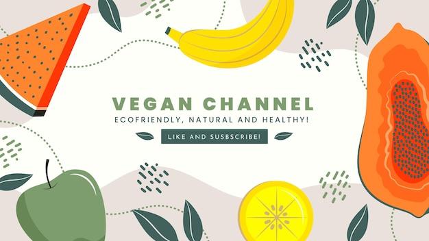 Ręcznie rysowane płaskie wegetariańskie jedzenie szablon sztuki kanału youtube