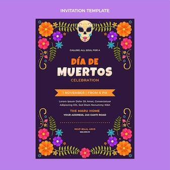 Ręcznie rysowane płaskie zaproszenie dia de muertos