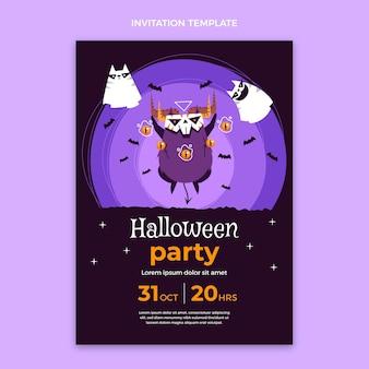 Ręcznie rysowane płaskie zaproszenie na halloween