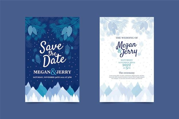 Ręcznie rysowane płaskie zimowe zaproszenie na ślub szablon