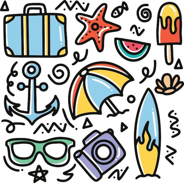 Ręcznie rysowane plaża doodle zestaw z ikonami i elementami projektu