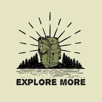 Ręcznie rysowane plecak adventure travel logo
