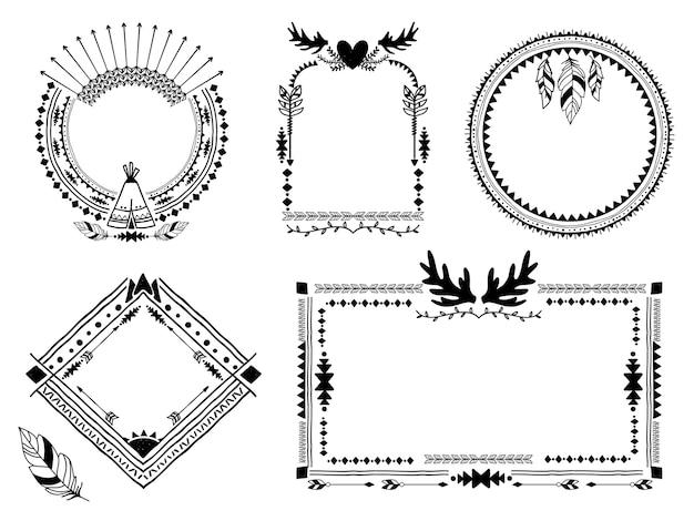 Ręcznie rysowane plemienne ramki. vintage granicy, element dekoracji etnicznej sztuki, ilustracji wektorowych