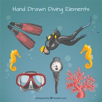 Ręcznie rysowane płetwonurek i urządzenia