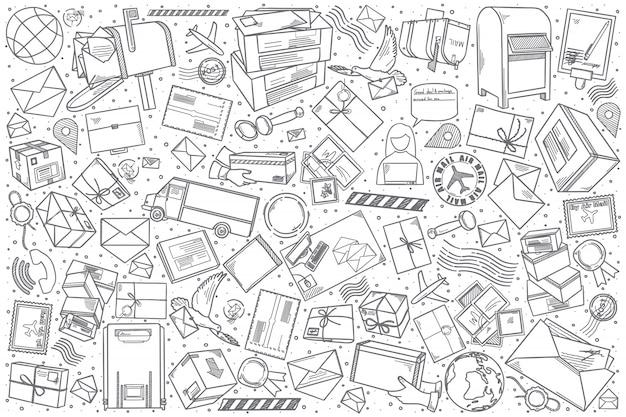 Ręcznie rysowane poczta doodle zestaw