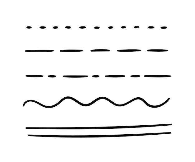 Ręcznie rysowane podkreślenie, nacisk, zestaw linii. pociągnięcia pędzla. ręcznie robione podkreślenie bazgrołów. ilustracja wektorowa na białym tle w stylu bazgroły.