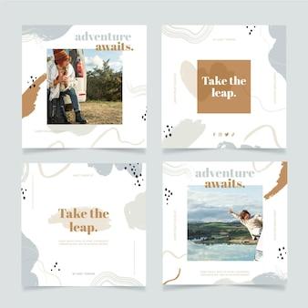 Ręcznie rysowane podróżny pakiet postów na instagramie