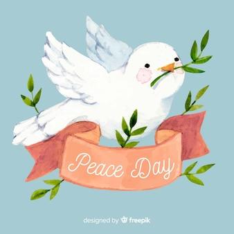 Ręcznie rysowane pojęcie pokoju międzynarodowego dzień z białą dove