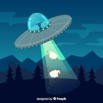 Ręcznie rysowane pojęcie uprowadzenia ufo