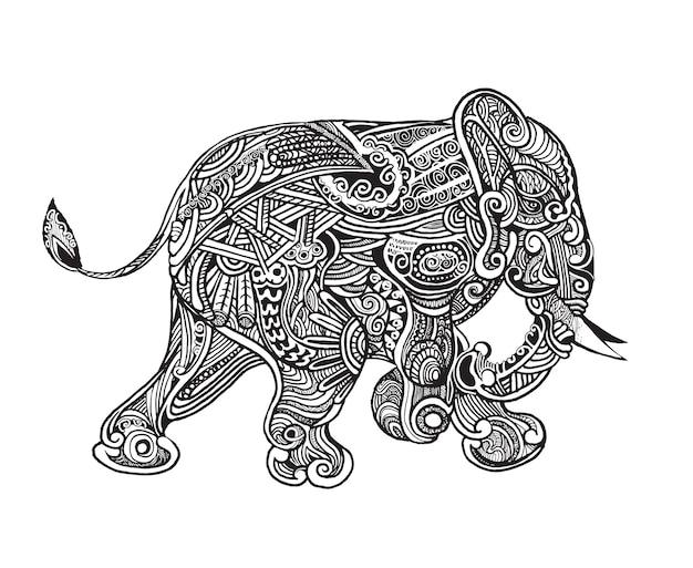 Ręcznie rysowane pojedyncze słonie etniczne