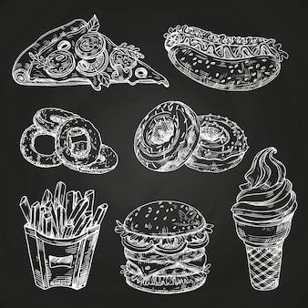 Ręcznie rysowane popularne fast foody w stylu tablica