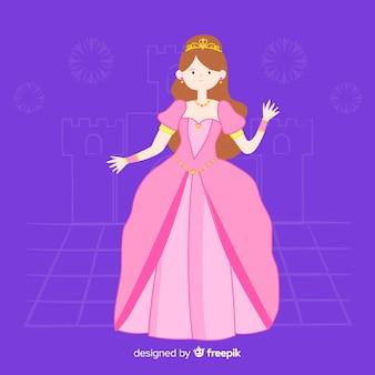 Ręcznie rysowane portret brązowowłosa księżniczka