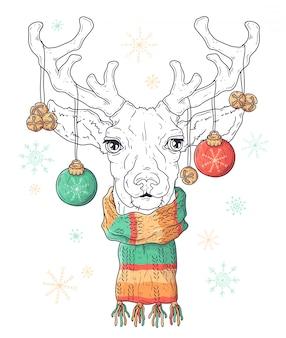 Ręcznie rysowane portret jelenia w boże narodzenie