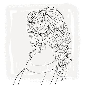 Ręcznie rysowane portret pięknej kobiety z piękną fryzurą a