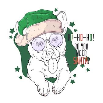 Ręcznie rysowane portret psa corgi w boże narodzenie