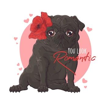 Ręcznie rysowane portret psa mops z kwiatami.