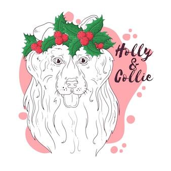 Ręcznie rysowane portret psa rasy collie w boże narodzenie