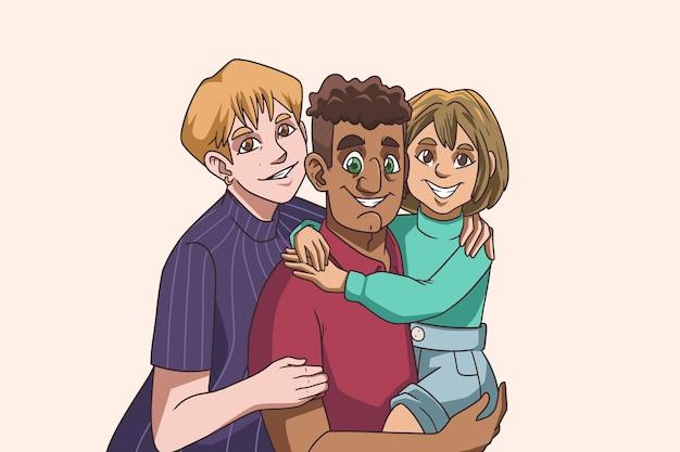 Ręcznie rysowane portret rodzinny