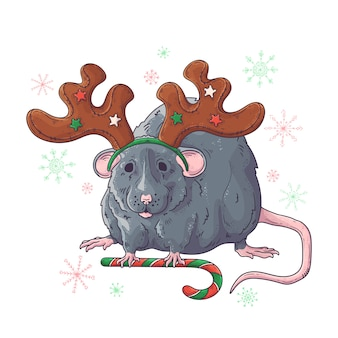Ręcznie rysowane portret szczura w akcesoria świąteczne.