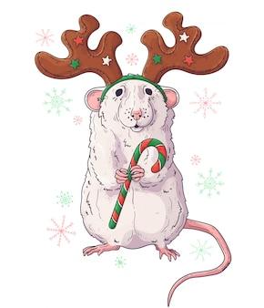 Ręcznie rysowane portret szczura w boże narodzenie akcesoria