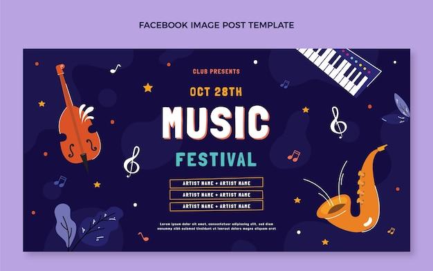 Ręcznie rysowane post festiwalu muzycznego na facebooku