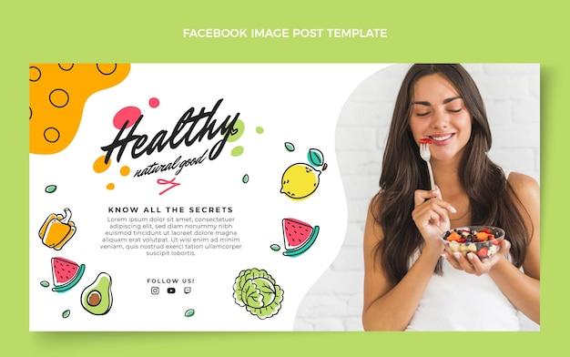Ręcznie rysowane post na facebooku zdrowej żywności