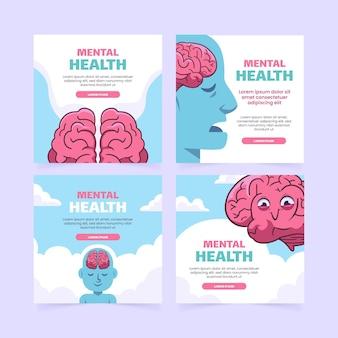 Ręcznie rysowane post na instagramie dotyczącym zdrowia psychicznego