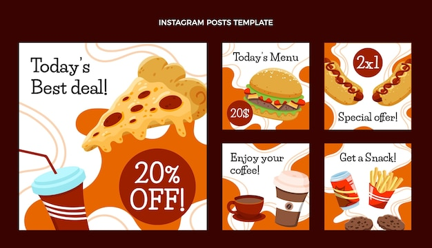 Ręcznie rysowane post na instagramie fast food