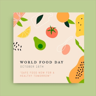 Ręcznie rysowane post na instagramie światowego dnia żywności