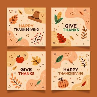 Ręcznie rysowane post na instagramie z okazji święta dziękczynienia