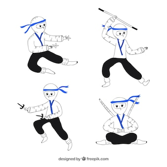 Ręcznie rysowane postać ninja w różnych pozach