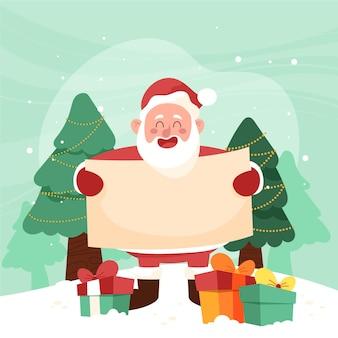 Ręcznie rysowane postać świąteczna trzymająca pusty transparent