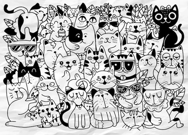 Ręcznie rysowane postaci kotów. styl szkicu. doodle, różne gatunki kotów, dla dzieci, ilustracja do kolorowanki, każdy na osobnej warstwie.