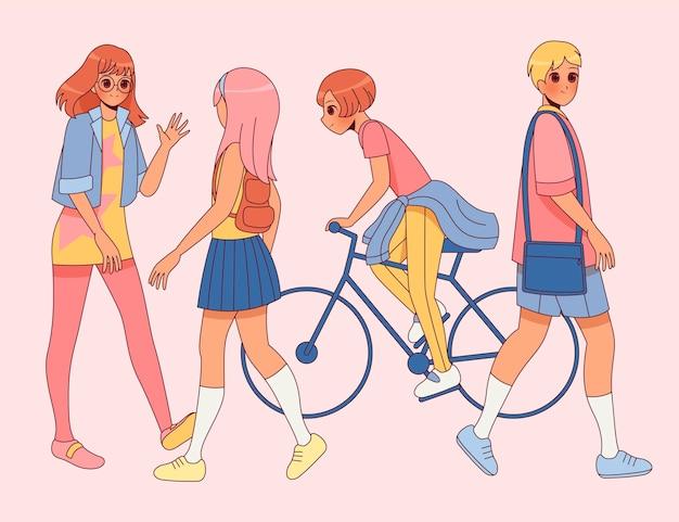 Ręcznie rysowane postacie anime idące ulicą i jeżdżące na rowerach po ulicy