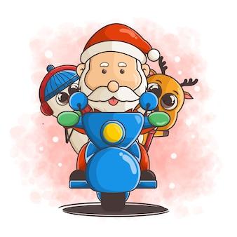 Ręcznie rysowane postacie świąteczne na skuterze