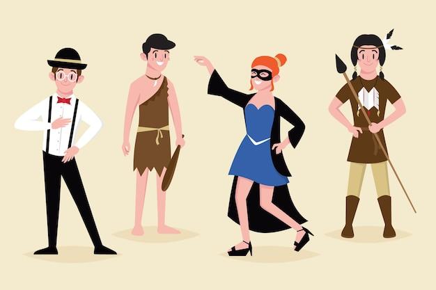 Ręcznie rysowane postacie w kostiumach karnawałowych