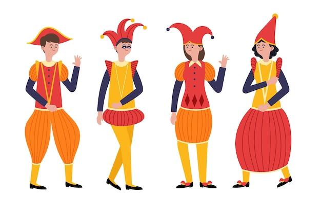 Ręcznie rysowane postacie w strojach włoskiego karnawału