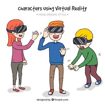 Ręcznie rysowane postacie wirtualne okulary wykorzystujące rzeczywistość